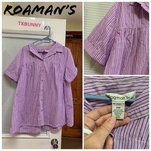 Roamans Women Button Shirt 20W Relaxed Career